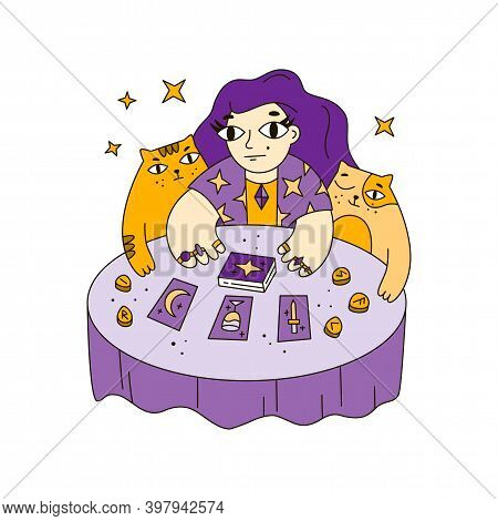 Fortuneteller At The Table Lays Out Tarot Cards And Runes. Witch, Cats, Magic, Prediction, Mascot Fo