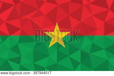 Low Poly Burkina Faso Flag Vector Illustration. Triangular Burkinabe Flag Graphic. Burkina Faso Coun