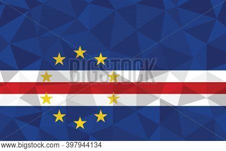 Cape Verde Flag Vector Illustration. Triangular Cape Verdean Flag Graphic. Cape Verde Country Flag I