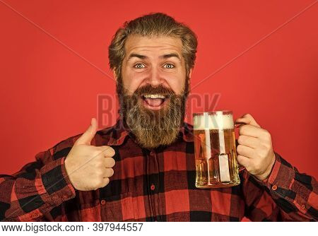 Refresh Your Spirit. Modern Hipster Getting Drunk. Welcome Drink. Brutal Bearded Man Drink Beer. Bee