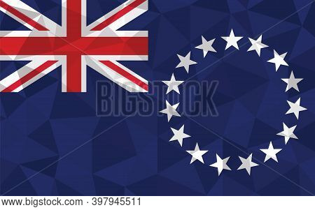 Low Poly Cook Islands Flag Vector Illustration. Triangular Cook Islander Flag Graphic. Cook Islands