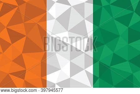 Low Poly Ivorian Flag Vector Illustration. Triangular Cote D'ivorie Flag Graphic. Ivorian Country Fl