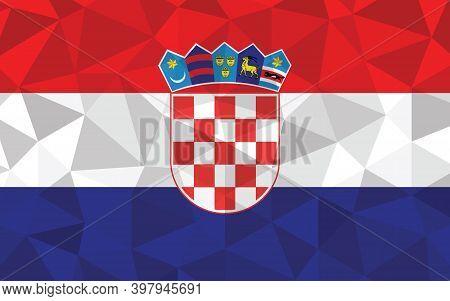 Low Poly Croatia Flag Vector Illustration. Triangular Croatian Flag Graphic. Croatia Country Flag Is
