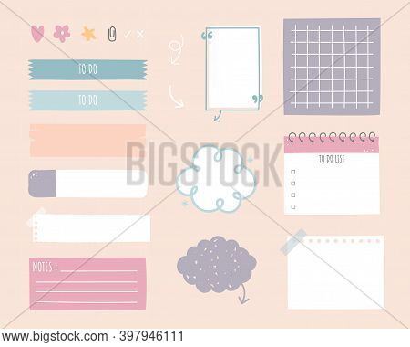 Collection Set Of Cute Hand Drawn, Doodle Blank Sticky Note Pad With Tape, Speech Bubble Balloon Thi