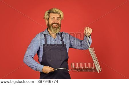 Have Fun Enjoy Cooking. Hipster Dyed Beard Promoting Bbq Equipment. Cooking Healthy. Tools Roasting