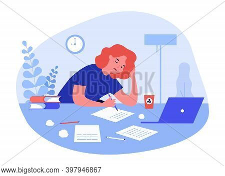 Tired Student Girl Studying At Night. Writer, Handwritten Text, Papers, Computer, Coffee Flat Vector