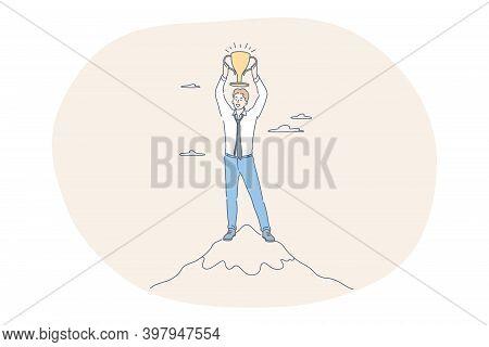 Success, Leadership, Business Development Concept. Happy Young Businessman Cartoon Character Standin