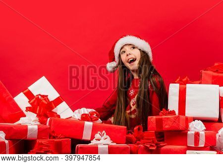 Child Happy Girl Find Gifts Christmas Tree. Merry Christmas. Happy Childhood Concept. Time For Mirac