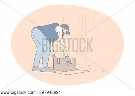 Contactless Delivery, Courier, Online Order Concept. Young Man Courier Deliveryman In Protective Med