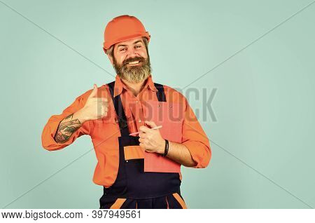 Waybill Or Delivery Note. Delivery Service. Supplier Of Goods. Delivery Man In Cap Holding Clipboard