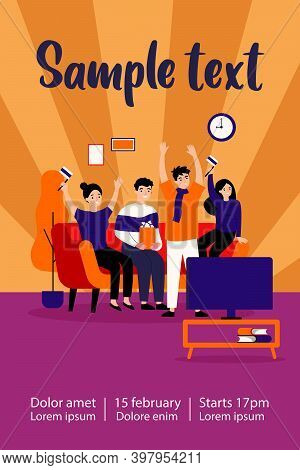 Football Fans, Championship, Leisure At Home Concept. Group Of Friends Sitting On Couch, Watching So