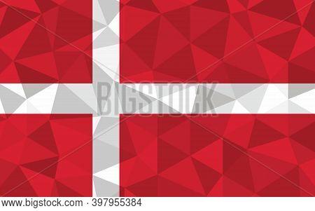 Low Poly Denmark Flag Vector Illustration. Triangular Danish Flag Graphic. Denmark Country Flag Is A