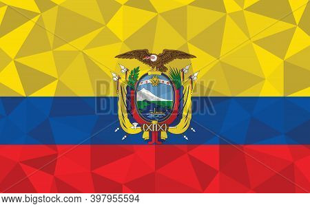 Low Poly Ecuador Flag Vector Illustration. Triangular Ecuadorian Flag Graphic. Ecuador Country Flag