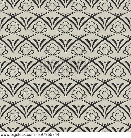 Ornamental Geometric Seamless Pattern. Hand Drawn Graphic Design, Nature Folklore Flourish, Leaves,