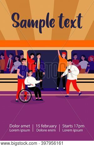 Handicapped Guy And His Helper Travelling By Subway Train. Help, City Transport, Wheelchair Flat Vec