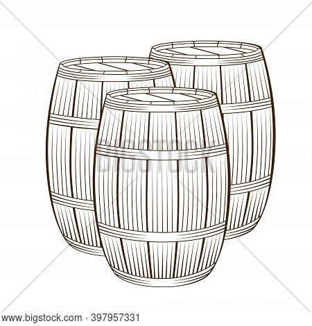 Three Wooden Barrels For Wine And Other Alcohol. Hand Drawn Wood Barrels Isolated On White Backgroun