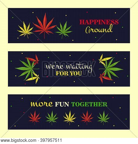 Promotional Banner Designs With Cannabis Leaves. Bright Ganja And Text On Dark Background. Hemp And