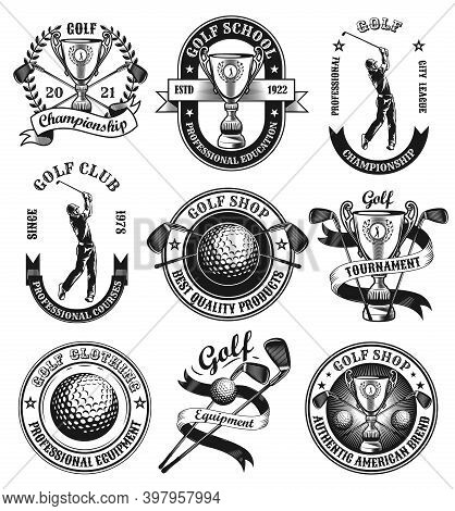 Retro Golf Emblems Or Stickers Vector Illustration Set. Vintage Labels With Cup, Golfer Or Ball Isol