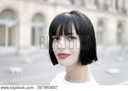 Woman Or Girl With Red Lips, Makeup Face, Brunette Hair Pose In Paris, France. Beauty, Look, Visage