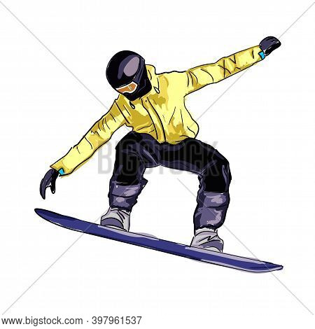 Vector Image Of A Snowboarder. A Quick Sketch Of An Athlete Who Goes Snowboarding In Winter In The M