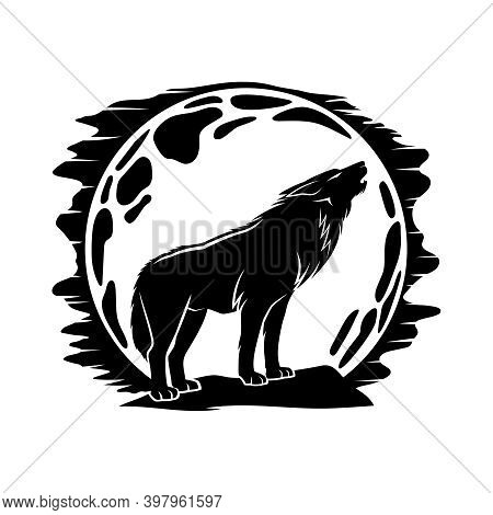 Black Icon With Wolf Howling At The Moon On A White Background.