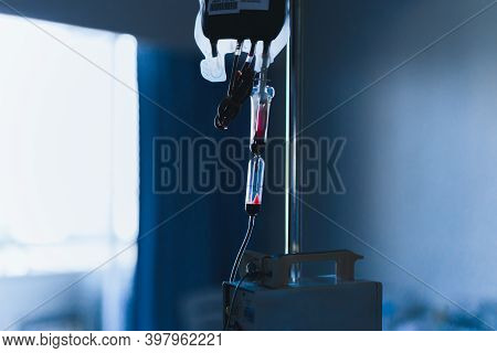 Blood Transfusion In Medicine Patient In Hospital.