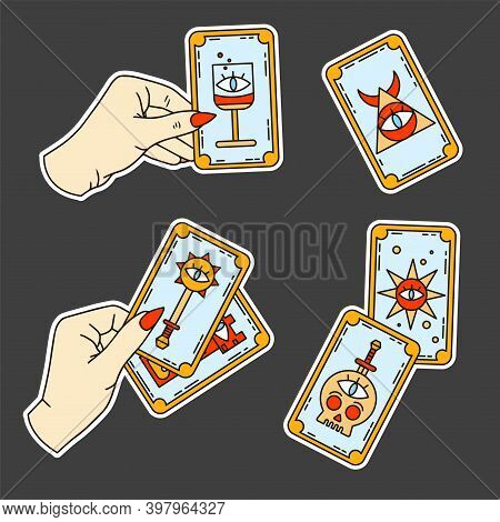 Logo For A Tarot Reader, Print For Souvenirs, A Set Of Drawings About Tarot Card. Fortune Telling On