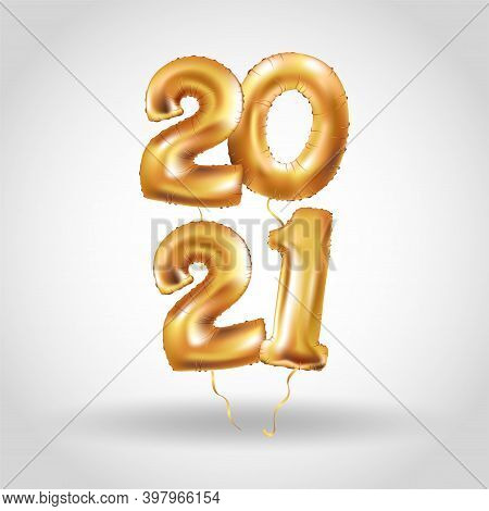 Metallic Gold Letter Balloons, 2021 Happy New Year, Gold Number Balloons, Number Ball, Air Filled Ba
