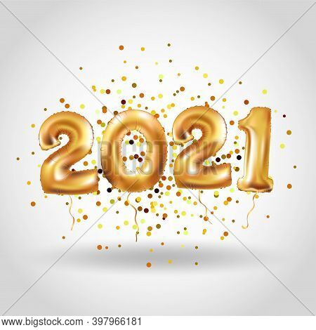 Metallic Gold Letter Balloons, 2021 Happy New Year, Gold Number Balloons, Alphabet Letter Balloons,