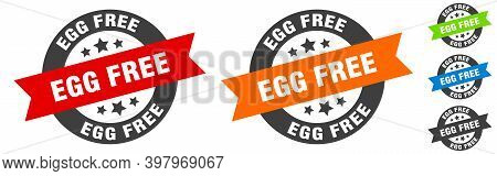 Egg Free Stamp. Egg Free Round Ribbon Sticker. Tag