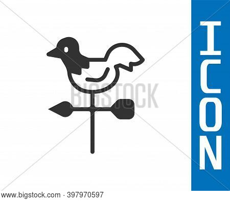 Grey Rooster Weather Vane Icon Isolated On White Background. Weathercock Sign. Windvane Rooster. Vec
