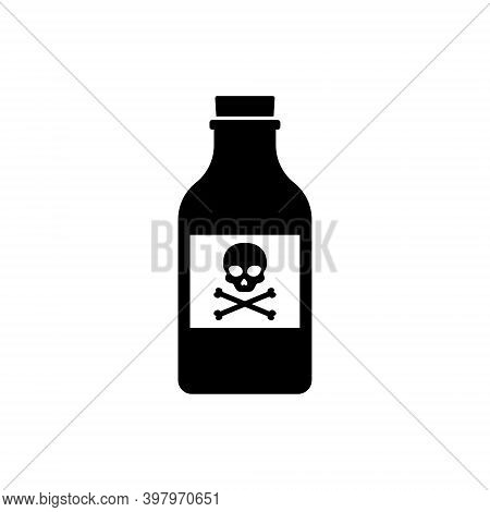 Flat Poison Bottle Icon Toxin. Poison Silhouette Venom Chemical Drink Glass Skull Caution Vector