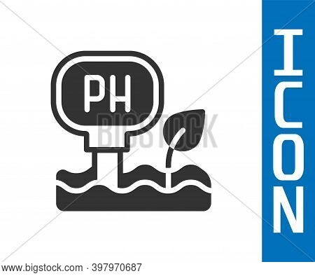 Grey Soil Ph Testing Icon Isolated On White Background. Ph Earth Test. Vector