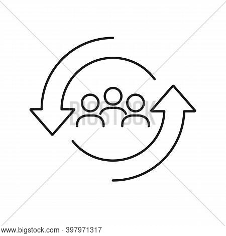 Personnel Change Line Icon. People In Round Cycle Symbol. Human Resource Concept. Vector Illustratio