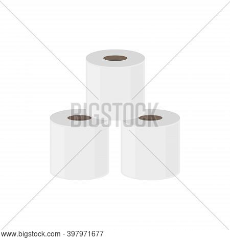 Toilet Paper Roll Flush Icon. Vector Toilet Paper Tissue Isolated Towel Flat Tape