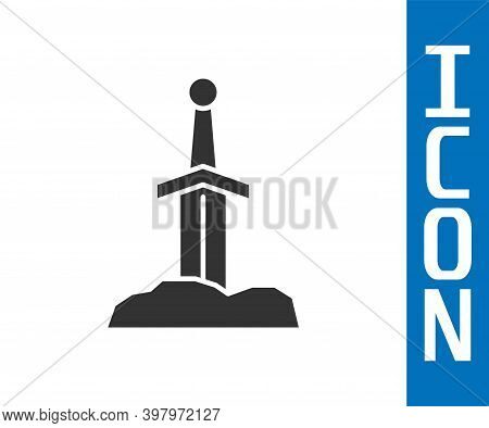 Grey Sword In The Stone Icon Isolated On White Background. Excalibur The Sword In The Stone From The