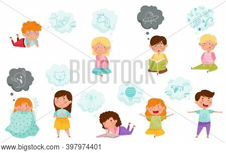 Curious Children Reading Book And Dreaming Vector Set