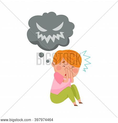 Frightened Boy Sitting And Imagining Spooky Monster Vector Illustration