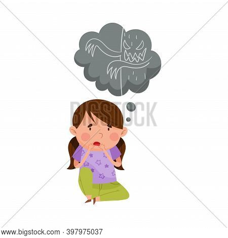 Frightened Girl Sitting And Imagining Spooky Monster Vector Illustration