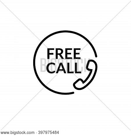 Free Call Vector Line Icon. Free Phone Call Care Sign Contact Toll Free Customer Telephone Help