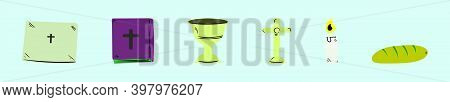 Set Of Church Altar Cartoon Icon Design Template With Various Models. Modern Vector Illustration Iso