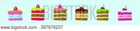 Set Of Cake Slice Cartoon Icon Design Template With Various Models. Modern Vector Illustration Isola