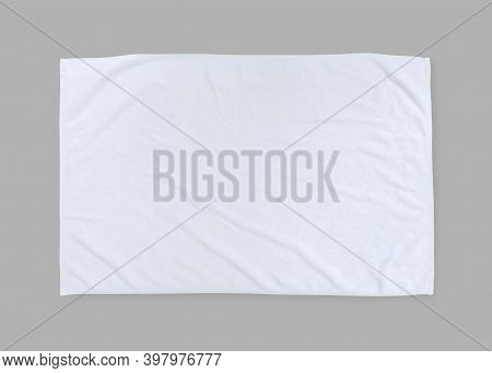 White Towel Mock Up Template Cotton Fabric Wiper Mockup Isolated On Grey Background With Clipping Pa