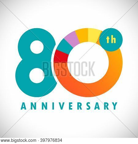 80 Th Anniversary Numbers. 80 Years Old Coloured Congrats. Cute Congratulation Concept. Isolated Abs