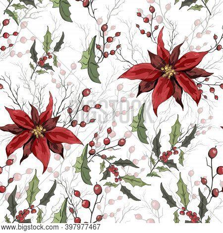 Seamless Background Of Winter Flowers (poinsettia, White Mistletoe, Holly) Isolated On A White Backg