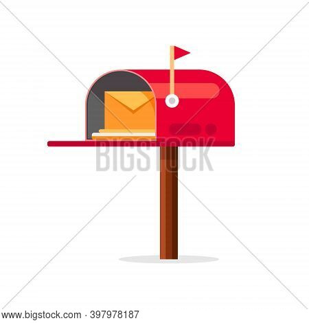 Mail Box Vector Icon. Post Mailbox Letter Illustration. Letterbox Flat Delivery Icon