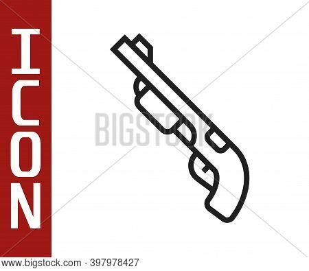 Black Line Police Shotgun Icon Isolated On White Background. Hunting Shotgun. Vector