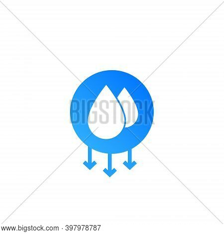 Humidity Water Icon. Vector Temperature Dry Air Humidity Icon Symbol