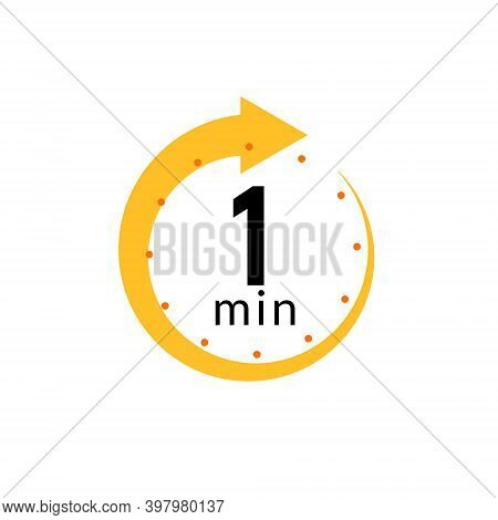 1 Minutes Clock Quick Number Icon. 1min Time Circle Icon