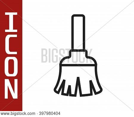 Black Line Feather Broom For Cleaning Icon Isolated On White Background. Feather Duster. Vector